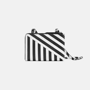 Zara black & white striped dual pocket crossbody